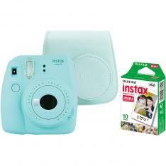 Kit cámara fujifilm instax mini 9 azul celeste +funda+carga