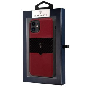 Carcasa iPhone 11 Licencia Maserati Piel Rojo