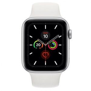 Apple Watch Series 5 GPS 44mm Aluminio Plata con Correa Deportiva Blanca