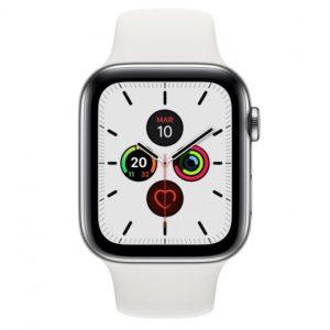 Apple Watch Series 5 GPS 40mm + Cellular Acero Inoxidable Plata con Correa Deportiva Blanca