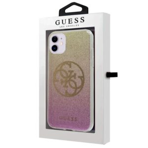 Carcasa IPhone 11 Licencia Guess Glitter Rosa Y Dorado