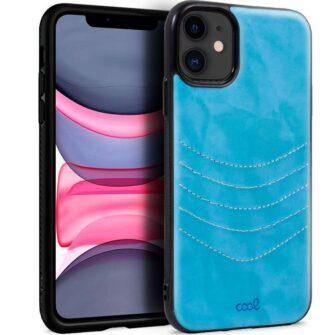 Carcasa IPhone 11 Leather Bordado Celeste