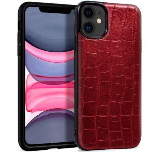 Carcasa IPhone 11 Leather Crocodile Rojo