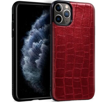 Carcasa IPhone 11 Pro Leather Crocodile Rojo
