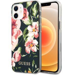 Carcasa IPhone 12 Mini Licencia Guess Flores Negro