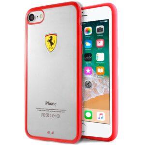 Carcasa IPhone 7 / 8 / SE (2020) Licencia Ferrari Transparente Rojo