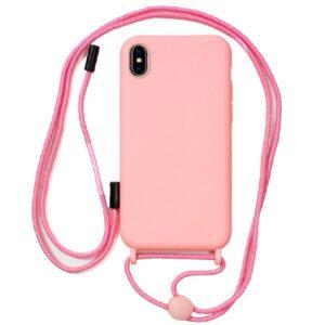 Carcasa IPhone X / IPhone XS Cordón Liso Rosa