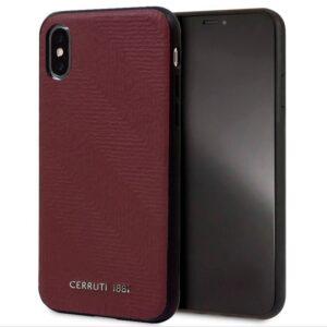 Carcasa IPhone X / IPhone XS Licencia Cerruti Piel Rojo