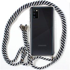 Carcasa Samsung A415 Galaxy A41 Cordón Blanco-Negro