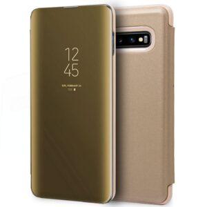 Funda Flip Cover Samsung G973 Galaxy S10 Clear View Dorado