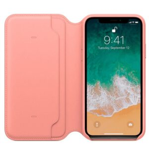 Funda Original IPhone X / IPhone XS Folio Leather Soft Pink (Con Blister)