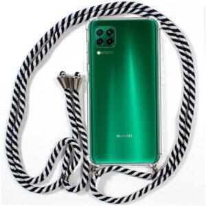 Carcasa Para Huawei P40 Lite Cordón Blanco-Negro
