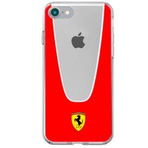 Carcasa para iPhone 7 / 8 / SE (2020) Licencia Ferrari Transparente Line Rojo
