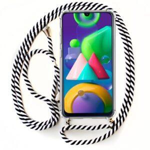 Carcasa Samsung M215 Galaxy M21 Cordón Blanco-Negro