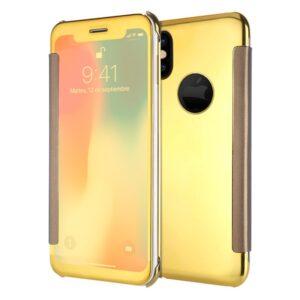 Funda Flip Cover Para IPhone X / IPhone XS Clear View Dorado