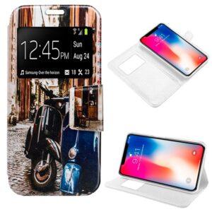 Funda Flip Cover Para IPhone X / IPhone XS Dibujos Moto